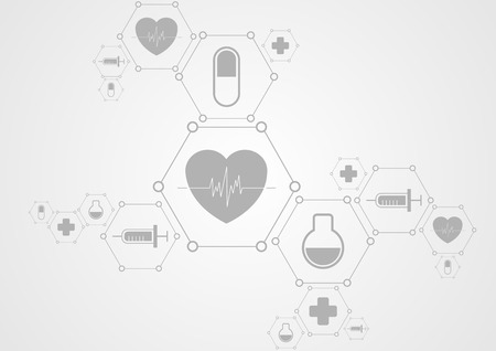 Ilustración de Health grey tech background and medical icons. Vector science design - Imagen libre de derechos