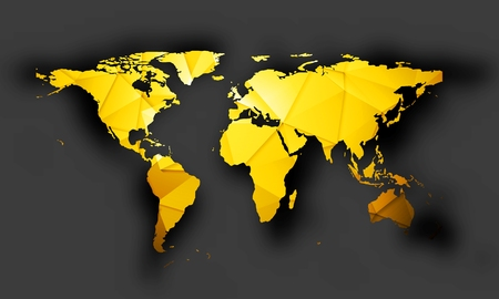 Illustration pour Bright orange polygonal world map with shadow on dark background. Vector graphic design - image libre de droit