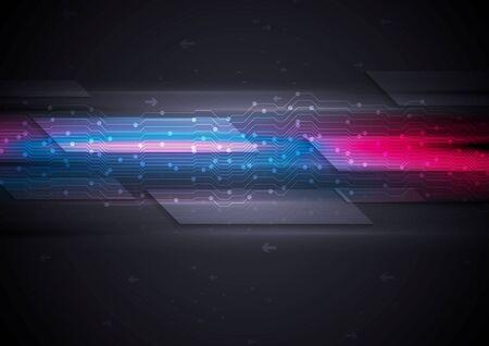 Illustration pour Dark glowing futuristic circuit board tech background. graphic design - image libre de droit