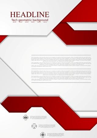 Illustration pour Abstract tech corporate vector background. Bright red grey graphic design. - image libre de droit