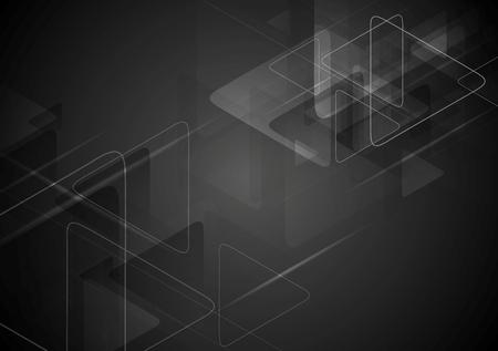Ilustración de Black tech background with triangles shape. Vector graphic polygonal design - Imagen libre de derechos