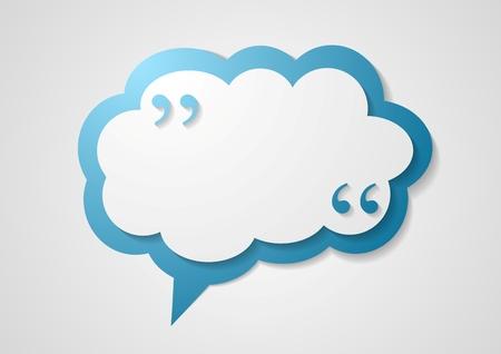 Illustration pour Blue cloud speech bubble with commas, quote abstract background. Vector dialog cloud graphic design - image libre de droit