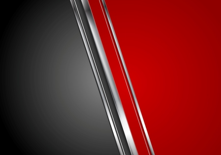 Illustration for Contrast red black tech background with metallic stripes. Vector abstract graphic design - Royalty Free Image