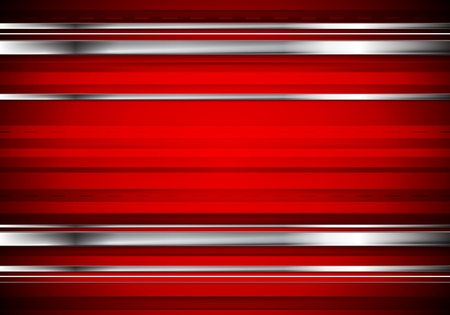 Illustration for Striped tech metallic corporate background. Abstract red vector design with metal silver stripes - Royalty Free Image