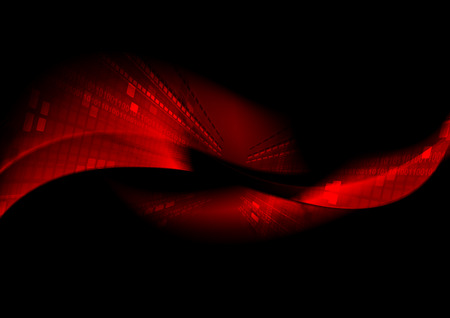 Ilustración de Abstract black tech background with red waves. Vector design - Imagen libre de derechos