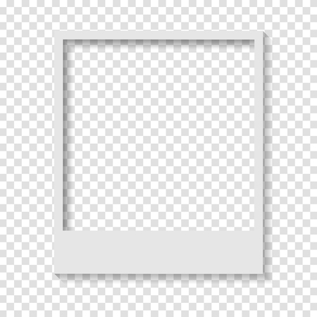 Blank transparent paper Polaroid photo frame. Vector design