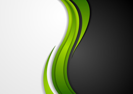 Ilustración de Abstract green black grey wavy background. Modern elegant waves vector graphic design - Imagen libre de derechos