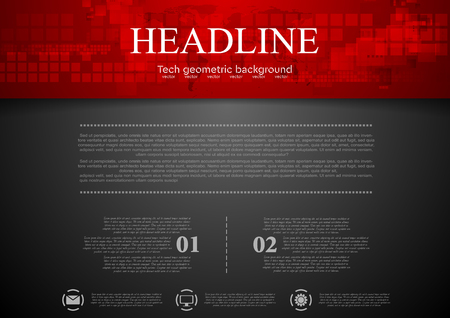 Illustration for Black abstract background with red tech header with squares and map. Technology design - Royalty Free Image