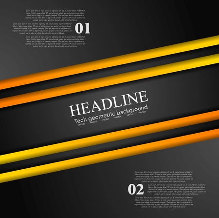 Illustration pour Abstract contrast orange black tech background. Corporate vector design - image libre de droit