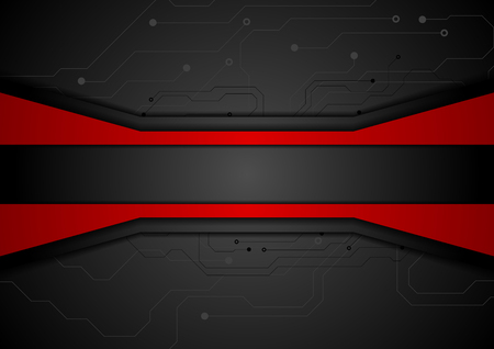 Illustration pour Contrast red black tech abstract background with circuit board drawing. Technology concept vector design - image libre de droit