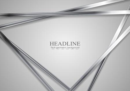 Illustration pour Tech metallic abstract triangles background. Silver metal stripes on grey backdrop. Hi-tech vector illustration - image libre de droit