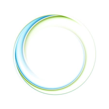 Ilustración de Abstract bright blue green iridescent circle logo. Vector graphic background - Imagen libre de derechos