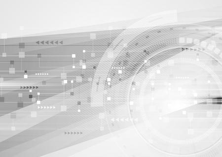 Illustration pour Abstract grey hi-tech futuristic background. Geometric technology design with gear - image libre de droit