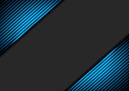 Illustration for Black abstract corporate background with blue neon glowing lines. Vector hi-tech design - Royalty Free Image