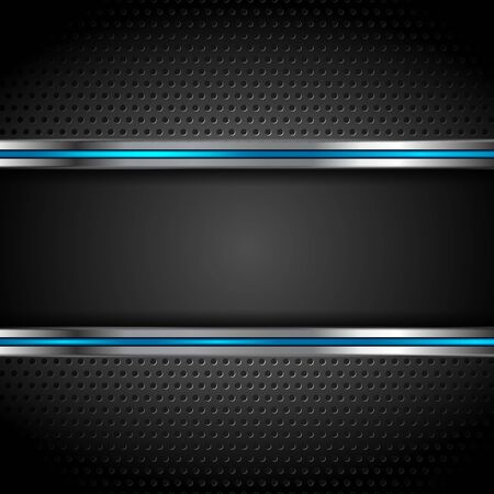 Illustration for Technology metallic perforated background with blue stripes. Vector illustration - Royalty Free Image