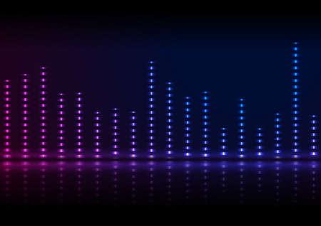 Illustration pour Neon sound wave equalizer abstract retro background with reflection. Futuristic vector design - image libre de droit