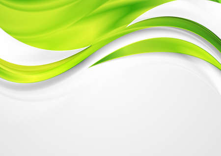 Illustration pour Bright green shiny glossy waves abstract background. Vector design - image libre de droit