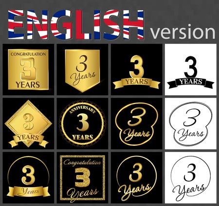 Illustration pour Set of number 3 years (three years) celebration. Anniversary golden number template elements for your birthday party - image libre de droit