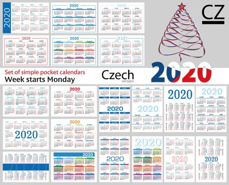 Illustration for Czech set of pocket calendars for 2020 (Two thousand nineteen). Week starts Monday. New year. Color simple design. Vector - Royalty Free Image