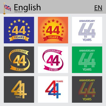 Illustration pour Set of number forty-four years (44 years) celebration design. Anniversary vector number template elements for your birthday party - image libre de droit