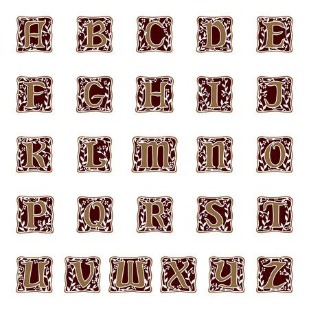 Ornamental letter alphabet illustration.