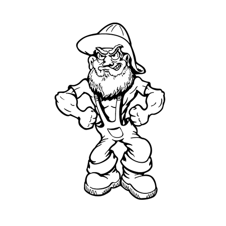 Illustration for Muscular old man cartoon character Vector Illustration. - Royalty Free Image