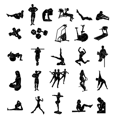 Fitness people silhouette Vector Illustration