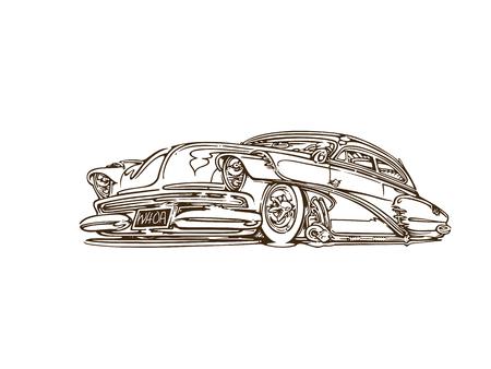 Illustration pour Vintage muscle cars inspired cartoon sketch - image libre de droit