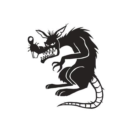 Illustration pour evil black rat cartoon illustration vector - image libre de droit