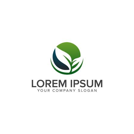 Ilustración de leaf eco green logo design concept template - Imagen libre de derechos
