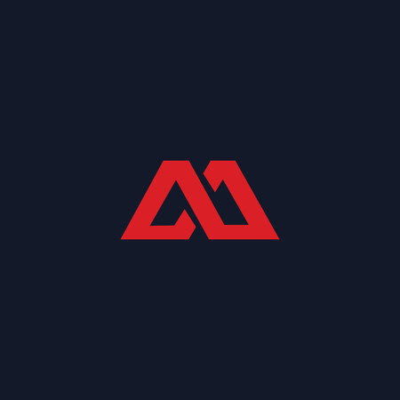 red letter m logo design concept template