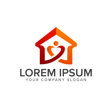 Illustration pour home love logo. real estate logo. design concept template - image libre de droit