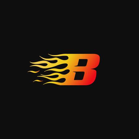 Ilustración de letter B Burning flame logo design template - Imagen libre de derechos