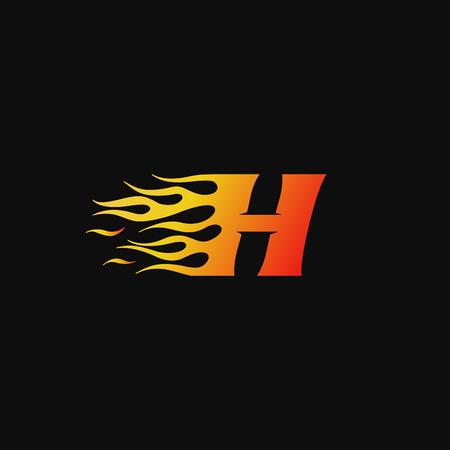 letter H Burning flame logo design template