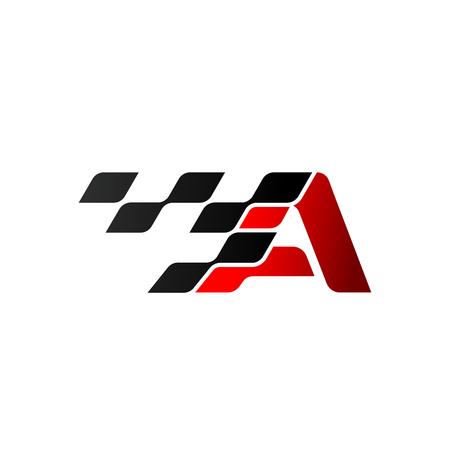 Illustration pour Letter A with racing flag logo - image libre de droit