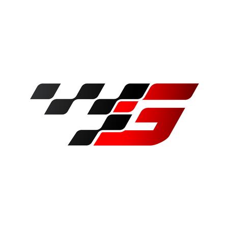 Ilustración de Letter G with racing flag logo - Imagen libre de derechos