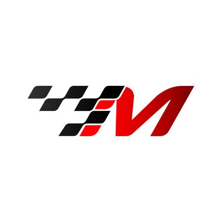 Illustration pour Letter M with racing flag logo - image libre de droit