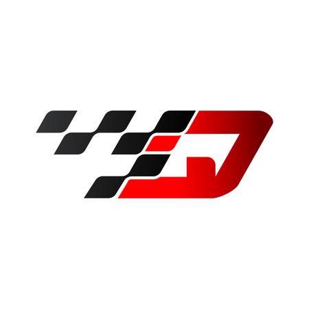Illustration pour Letter Q with racing flag logo - image libre de droit