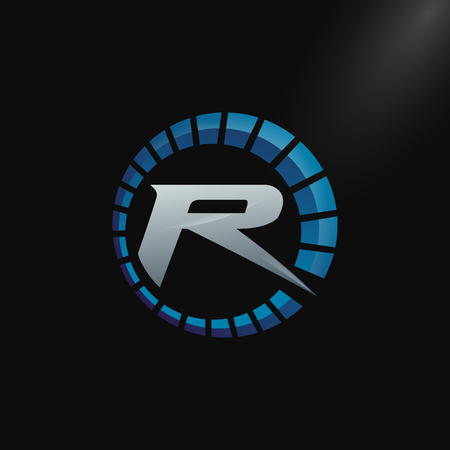 Speed Logo with letter R, letter R tachometer logo Vector Template Design