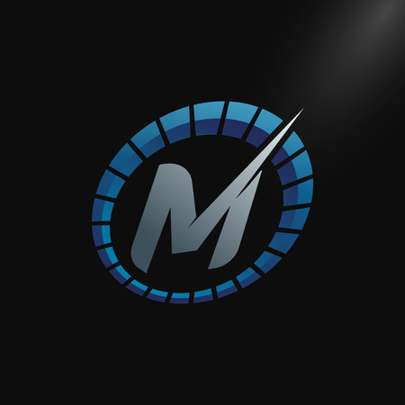 Illustration for Speed Logo with letter M, letter M tachometer logo Vector Template Design - Royalty Free Image