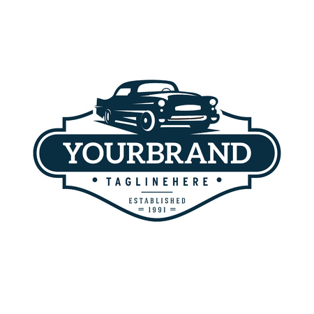 Illustration for illustration classic car logo template - Royalty Free Image
