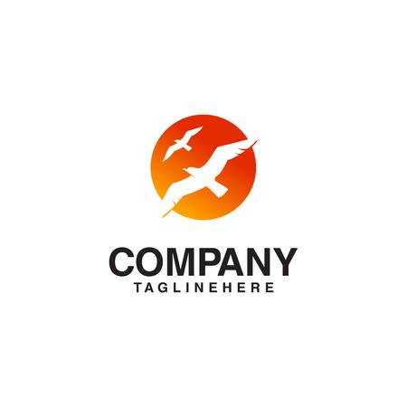 Illustration pour flying bird sun logo - image libre de droit