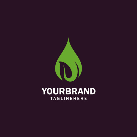 Illustration pour water and leaf vector logo for natural health symbols and clean water company - image libre de droit