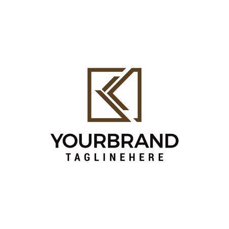letter k logo square template design