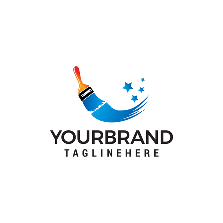 Illustration for Paint brush logo design concept template vector - Royalty Free Image