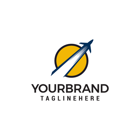 Ilustración de airplane logo design concept template vector - Imagen libre de derechos