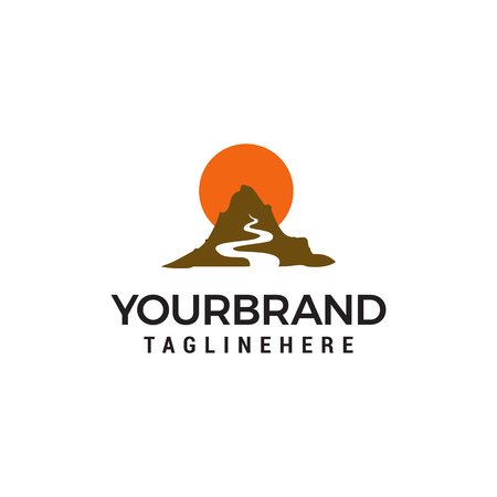 Illustration pour Mountains river and sun logo design concept template vector - image libre de droit