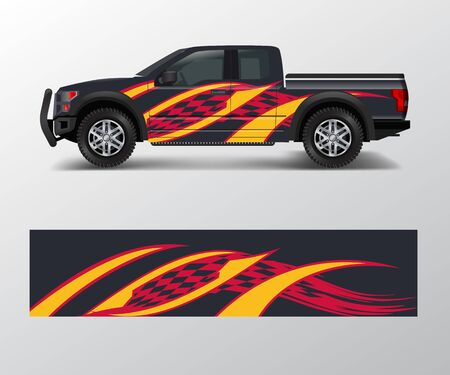Illustration for truck and cargo van wrap vector, Car decal wrap design. Graphic abstract stripe designs for vehicle, race, offroad, adventure and livery car - Royalty Free Image