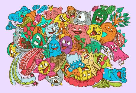 Illustration for Doodles color Monsters collection set illustration - Royalty Free Image