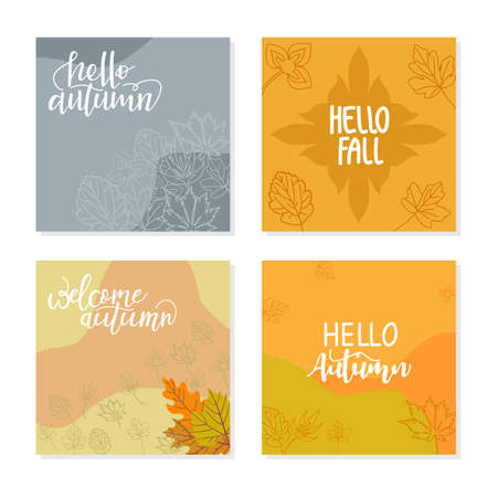 Illustration pour Trendy abstract square template with autumn concept. Able to use for social media posts, mobile apps, banners design, web or internet ads. - image libre de droit